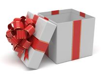 Open gift box. With red and gold bow Stock Images