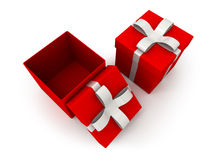 Open gift box over white background 3d illustration Stock Photos