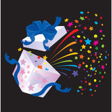 Open Gift Box with rainbow colors confetti. Booming on black background Stock Photos