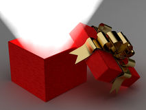 Open gift box with a ray of light. 3D image Stock Photo