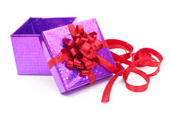 Open gift box with red bow Royalty Free Stock Photography