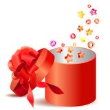 Open gift box with red bow Stock Photo