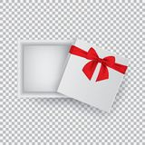 Open gift box with a red bow isolated on a transparent hair dryer. Vector illustration. EPS 10 Stock Photos