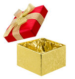 Open gift box of red and golden colors on white Stock Images
