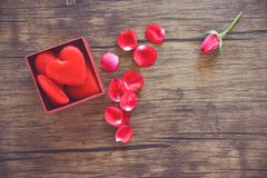 Open Gift Box with red heart red present box with full heart for gift Valentines day and roses petals flower royalty free stock image
