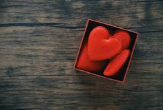 Open Gift Box and red heart romantic in box surprise / red present box with full heart for gift stock images