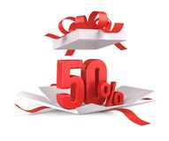 Open gift box with red 50 percent discount on white background - Discount sale concept. / 3d rendering vector illustration