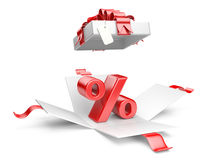 Open gift box with red percent symbol Stock Photos