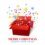 Open gift box with red ribbon colorful confetti Stock Photography