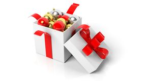 Open gift box with red ribbon full of Christmas balls. On white Stock Photography