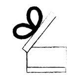 open gift box ribbon black bow sketch Stock Images