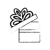 open gift box ribbon bow party sketch Stock Image