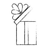 open gift box ribbon cube decorative sketch Royalty Free Stock Images