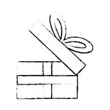 Open gift box ribbon festive party sketch. Illustration eps 10 Royalty Free Stock Images