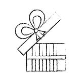 Open gift box ribbon give party sketch Royalty Free Stock Photos