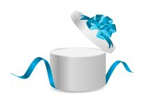Open gift box with ribbon and magic light Royalty Free Stock Photos
