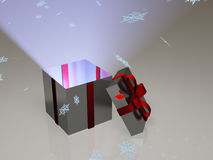 Open gift box with snowflakes Royalty Free Stock Photography