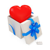 Open Gift Box With Red Heart Inside Stock Image