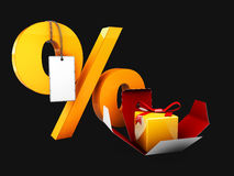 Open gift box and Yellow Percentage. on black background, 3d Illustration. Open gift box and Yellow Percentage, on black background, 3d Illustration Royalty Free Stock Images