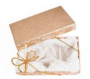 Open gift boxes with gold ribbon Stock Images