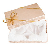 Open gift boxes with gold ribbon Royalty Free Stock Photos