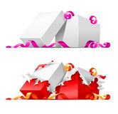 Open gift boxes with ribbon. Illustration, isolated on white background Stock Photography