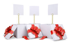 Open gift boxes with white labels Stock Photo