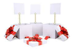 Open gift boxes with white labels. Render on a white background Stock Photos