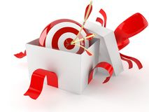 Open gift with bull`s eye Royalty Free Stock Photo