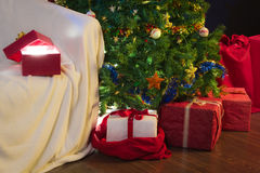 Open gift with christmas light Royalty Free Stock Photography