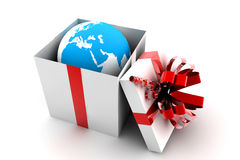 Open gift with earth Stock Photos