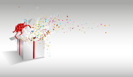 Open gift with fireworks from confetti. Congratulations on holiday. Border design. Background for promotions and offers.  Vector background Royalty Free Stock Images