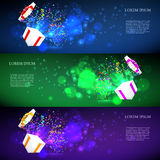 Open gift with fireworks from confetti. vector. Illustration Stock Photo