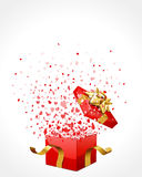 Open gift with fly hearts. Valentine's day background Royalty Free Stock Photos