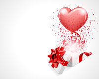 Open gift with fly hearts and balloon. Valentine's or wedding day background Royalty Free Stock Photos