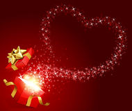 Open gift with fly stars heart shape. Valentine's day background Stock Image