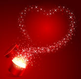 Open gift with fly stars heart shape Royalty Free Stock Image