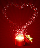 Open gift with fly stars heart shape. Valentine's day background Stock Images