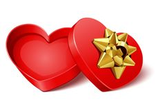 Open gift heart with gold bow Stock Photography