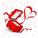 Open gift with heart Royalty Free Stock Image