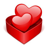 Open gift heart with two red heart Stock Photo