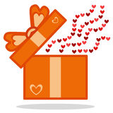 Open Gift with hearts icon stock photo