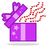 Open Gift with hearts icon stock images