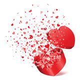 Open gift present box with fly hearts. Illustration Stock Images