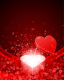 Open Gift Present With Fly Hearts Royalty Free Stock Photography