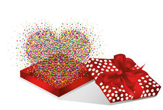 Open the gift red box with flying multicolored confetti shape of hearts Royalty Free Stock Photos