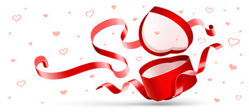 Open gift with red ribbon Royalty Free Stock Image