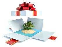 Open gift and tropical island Royalty Free Stock Image