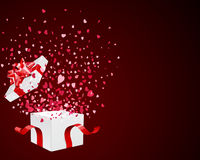Open Gift With Fly Hearts Stock Image