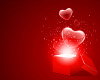 Open Gift With Fly Hearts Royalty Free Stock Photos